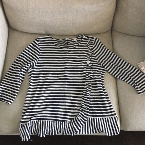 J. Crew Tops - Good used condition flutter detail striped LS tee